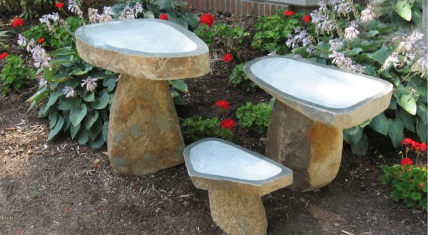 boulder bird baths